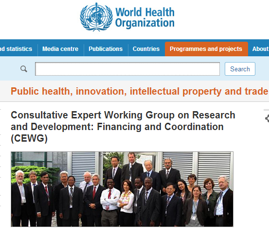 WHO   Consultative Expert Working Group on Research and Development  Financing and Coordination  CEWG